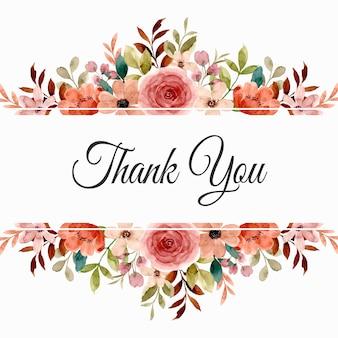 Tarjeta de agradecimiento con borde de flores de acuarela