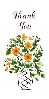 Tarjeta de agradecimiento con una canasta de flores