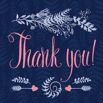 Tarjeta de agradecimiento con corazón, hierbas del bosque, flechas y caligrafía. fondo azul