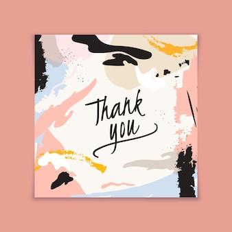 Tarjeta de agradecimiento con diseño abstracto manchado