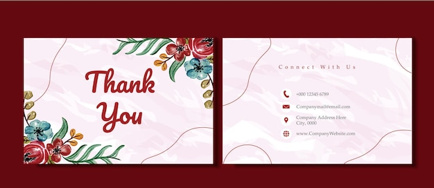 Tarjeta de agradecimiento de flores plantilla de negocios con flores de acuarela