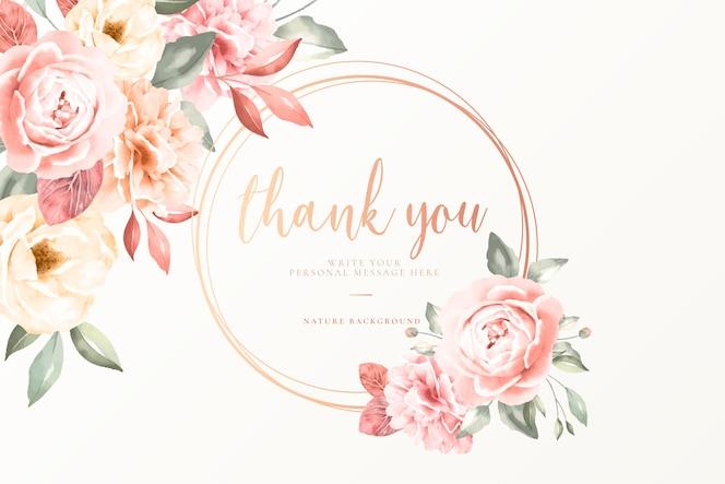 Tarjeta de agradecimiento con flores vintage