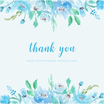 Tarjeta de agradecimiento de fondo acuarela de flor azul