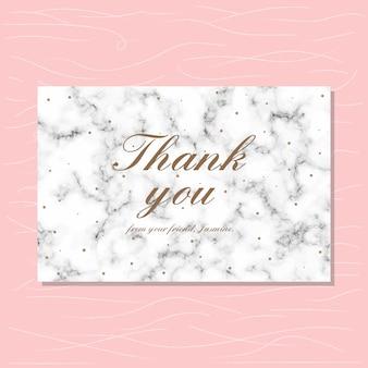 Tarjeta de agradecimiento con fondo de mármol