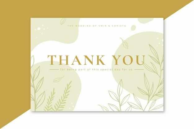 Tarjeta de agradecimiento con hojas minimalistas.