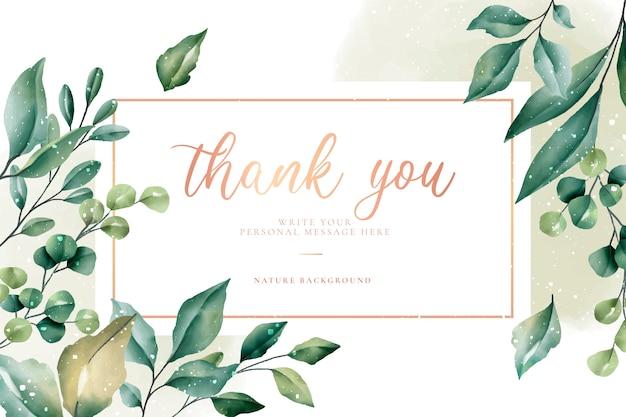 Tarjeta de agradecimiento con hojas verdes