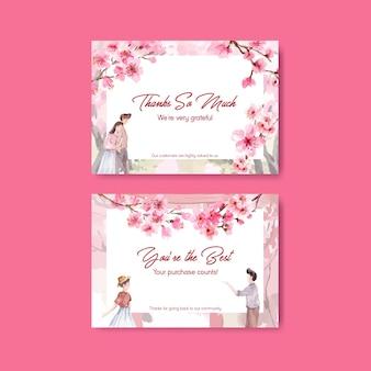 Tarjeta de agradecimiento con ilustración de acuarela de diseño de concepto de flor de cerezo