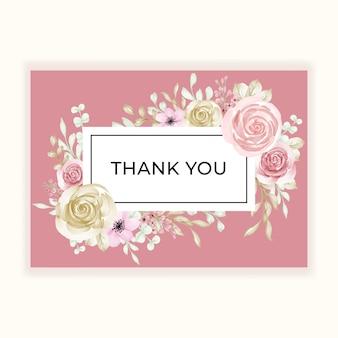 Tarjeta de agradecimiento con marco de flores pastel