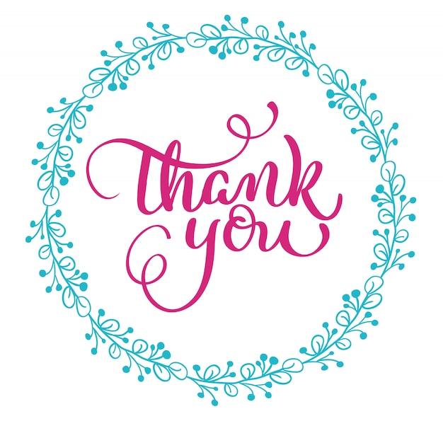 Tarjeta de agradecimiento con marco redondo en blanco