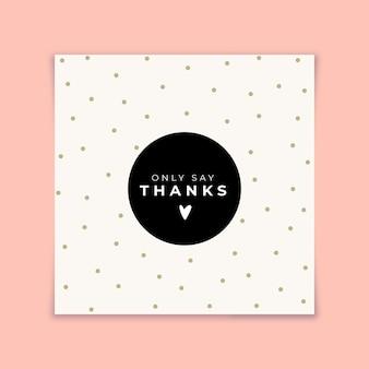 Tarjeta de agradecimiento con puntos dorados