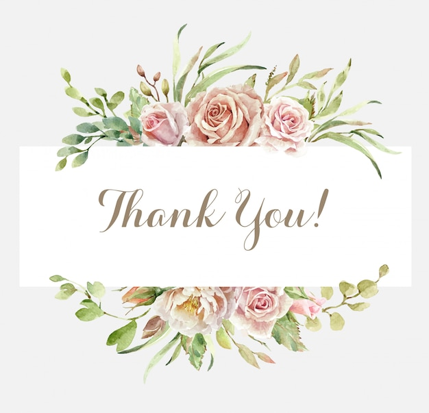 Tarjeta de agradecimiento con ramo de rosas de acuarela.
