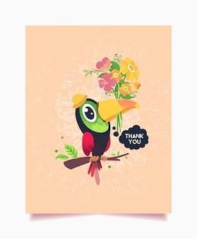 Tarjeta de agradecimiento tema floral con pájaro tucán
