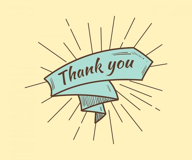 Tarjeta de agradecimiento, con texto y cinta. estilo retro. ilustración vectorial