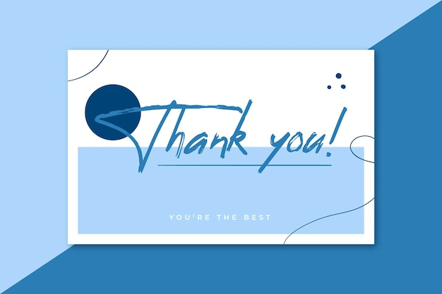 Tarjeta de agradecimiento en tonos azules.