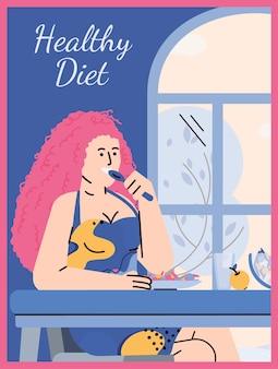 Tarjeta de alimentos saludables con mujer comiendo comida en casa ilustración vectorial de dibujos animados