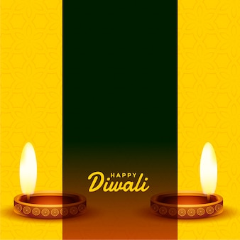 Tarjeta amarilla feliz diwali con espacio de texto