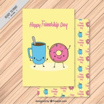 Tarjeta de amistad de café y donut dibujado a mano