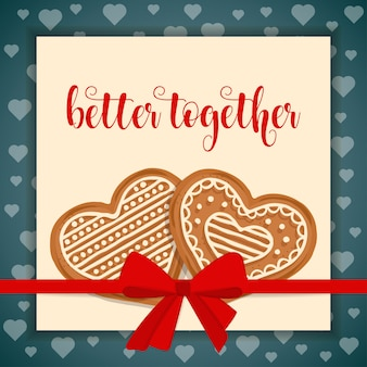 Tarjeta de amor dulce con corazones de pan de jengibre.