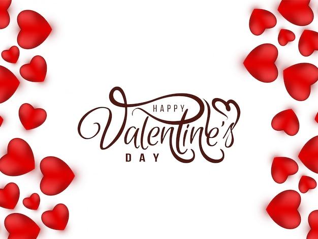 Tarjeta de amor elegante de san valentín con corazones