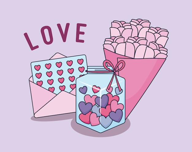 Tarjeta de amor con ramos de rosas.