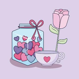Tarjeta de amor con tarro y corazones.