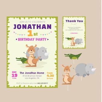 Tarjeta animal linda de la invitación del tema del cumpleaño
