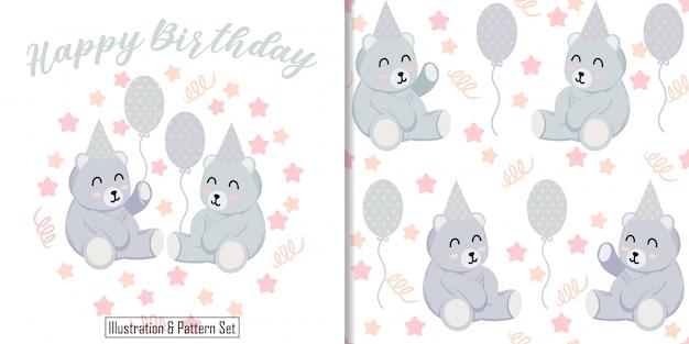 Tarjeta de animal lindo oso ilustración con conjunto de patrones sin fisuras de peluche