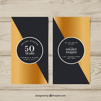 Tarjeta de aniversario de boda en estilo dorado