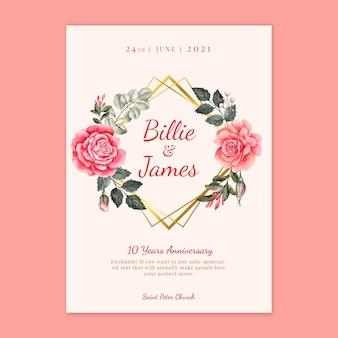 Tarjeta de aniversario de boda floral
