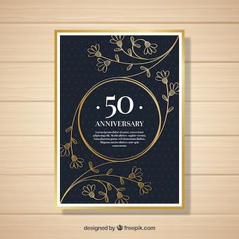 Tarjeta de aniversario de boda con ornamentos en estilo dorado