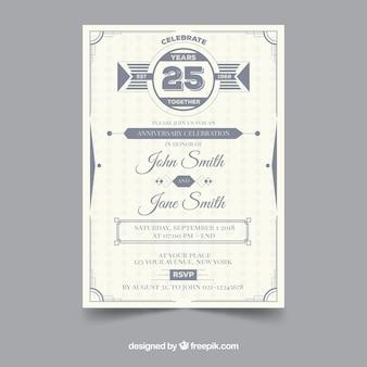 Plantilla De Tarjeta De Aniversario Vintage Vector Gratis