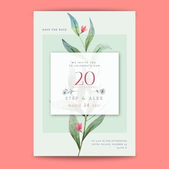 Tarjeta de aniversario de boda