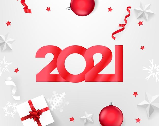 Tarjeta de año nuevo 2021. ilustración de vista superior tarjeta de año nuevo 2021. ilustración de vector de vista superior