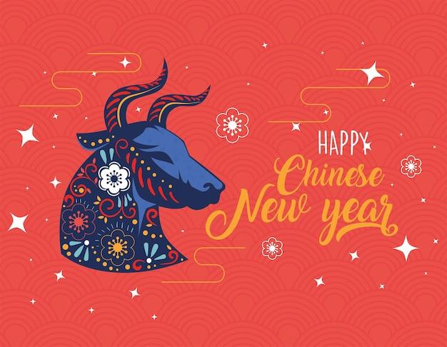 Tarjeta de año nuevo chino con patrón floral en perfil de buey y letras