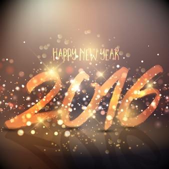 Tarjeta de año nuevo dorada y bokeh