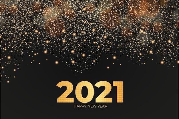 Tarjeta de año nuevo con fondo de efecto dorado