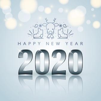Tarjeta de año nuevo con iconos de navidad. vector
