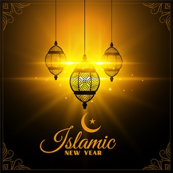 Tarjeta de año nuevo islámico brillando con linternas