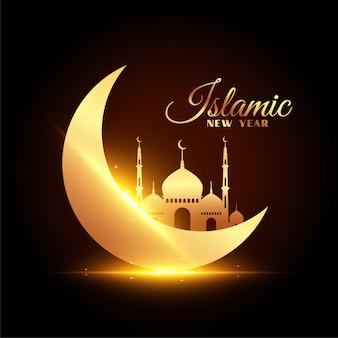 Tarjeta de año nuevo islámico con hermosa luna y mezquita