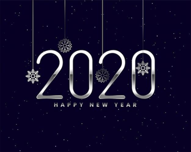 Tarjeta de año nuevo de plata brillante 2020 con copos de nieve