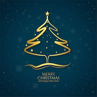Tarjeta de árbol de navidad artística dorada