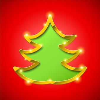 Tarjeta de árbol de navidad con borde dorado
