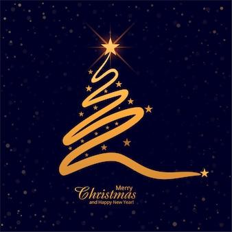 Tarjeta de árbol de navidad dorada de línea mínima
