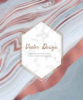 Tarjeta azul con diseño de tinta líquida de lámina de oro rosa con marco geométrico de mármol blanco.