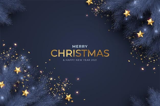 Tarjeta azul y dorada de feliz navidad y año nuevo con decoración realista