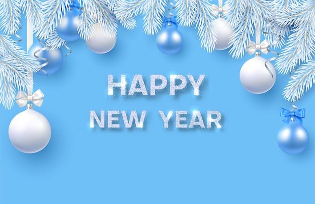 Tarjeta azul feliz año nuevo con ramas de abeto blanco y bolas de navidad