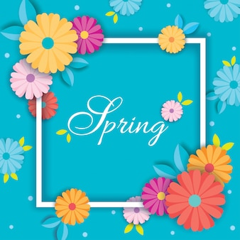 Tarjeta azul primavera