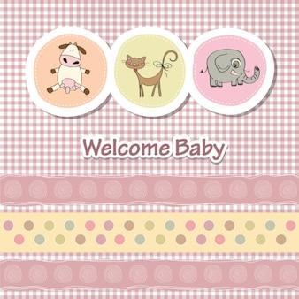 Tarjeta de baby shower con animales divertidos