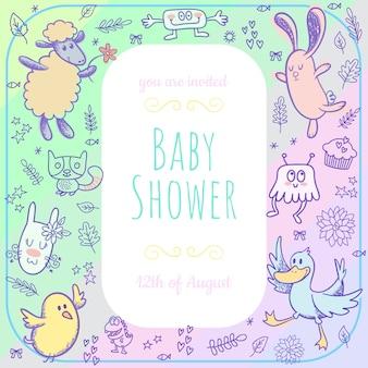 Tarjeta de baby shower con animales doodle