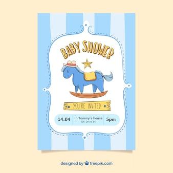 Tarjeta de baby shower azul con caballo